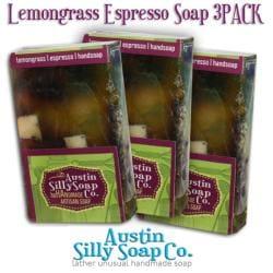 Lemongrass Espresso Handmade Soap for kitchens and gardeners Pack of 3
