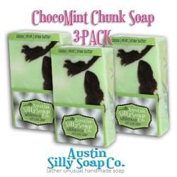 Austin Silly Soap Pack of 3 Choco Mint Chunk Creamy Handmade Soap