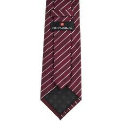Republic Men's Red/White Striped Woven Microfiber Tie