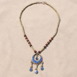 Hand-made Blue Moon Shaped Lapis Lazuli Necklace (Afghanistan)