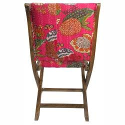 nuLOOM Handmade Bombay Floral Fuchsia Upholstered Folding Chair