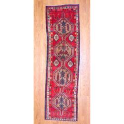 1960s Antique Persian Hand-knotted Tribal Hamadan Red/ Ivory Wool Runner (3'3 x 11')