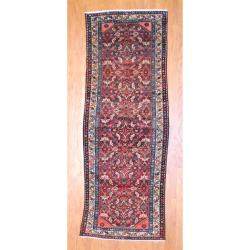 1950s Antique Persian Hand-knotted Tribal Hamadan Burgundy/ Ivory Wool Runner (3'6 x 10'1)