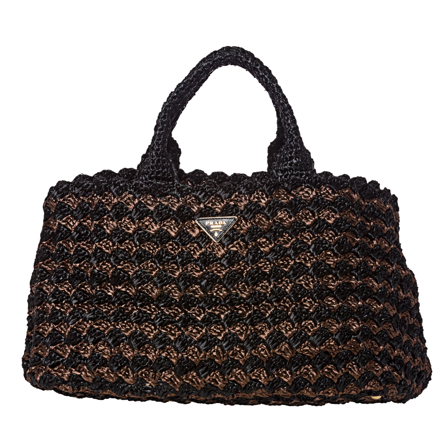 Prada Bi-color Raffia Tote Bag