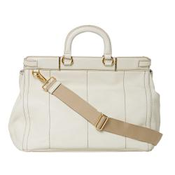 Prada Cream Stamped Leather Tote Bag