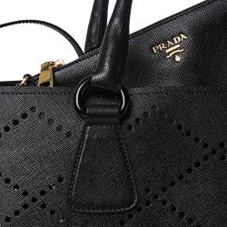 Prada Large Black Perforated Saffiano Leather Tote Bag