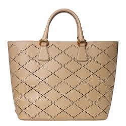 Prada Large Beige Perforated Saffiano Leather Tote Bag