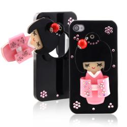 Black Kimono Girl Mirror Snap-on Case for Apple iPhone 4/ 4S
