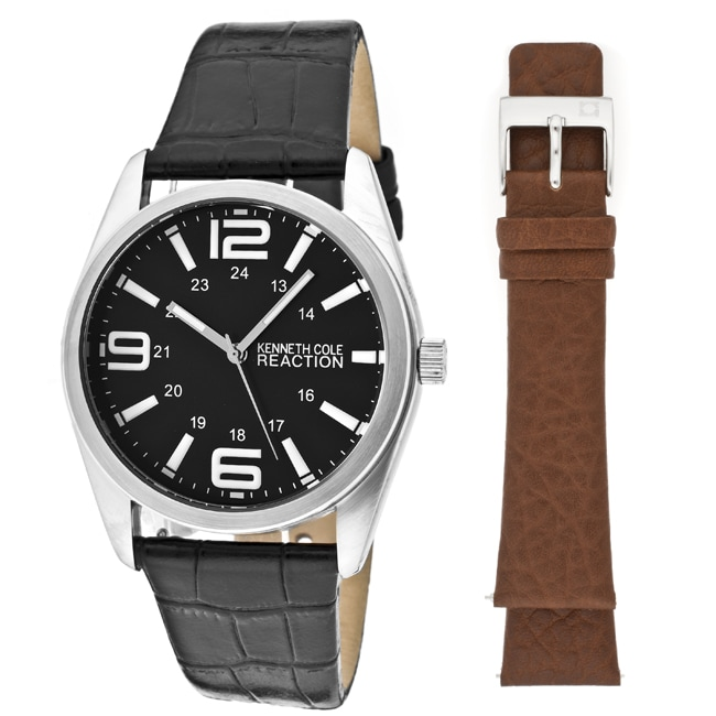 Kenneth Cole Reaction Men's Black Genuine Leather Watch