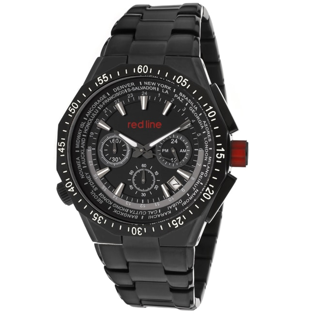 Red Line Men's 'Travel' Black Ion-plated Stainless Steel Watch