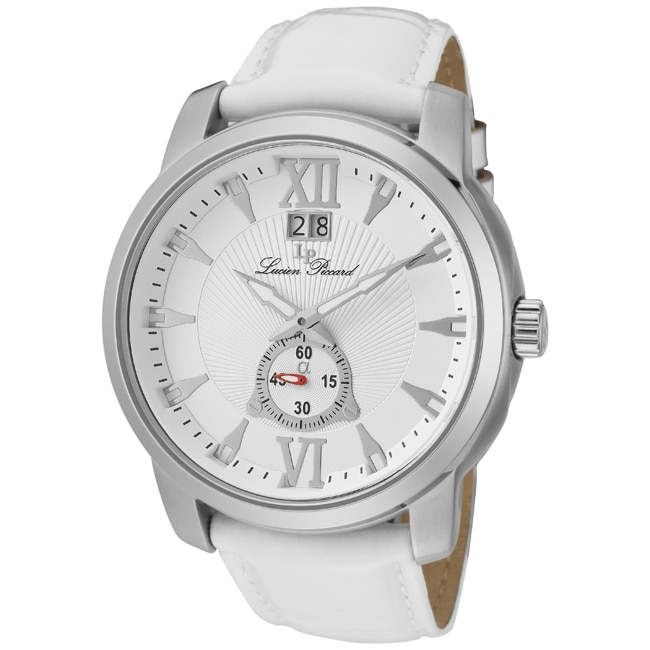 Lucien Piccard Men's 'Alpha' White Genuine Leather Watch