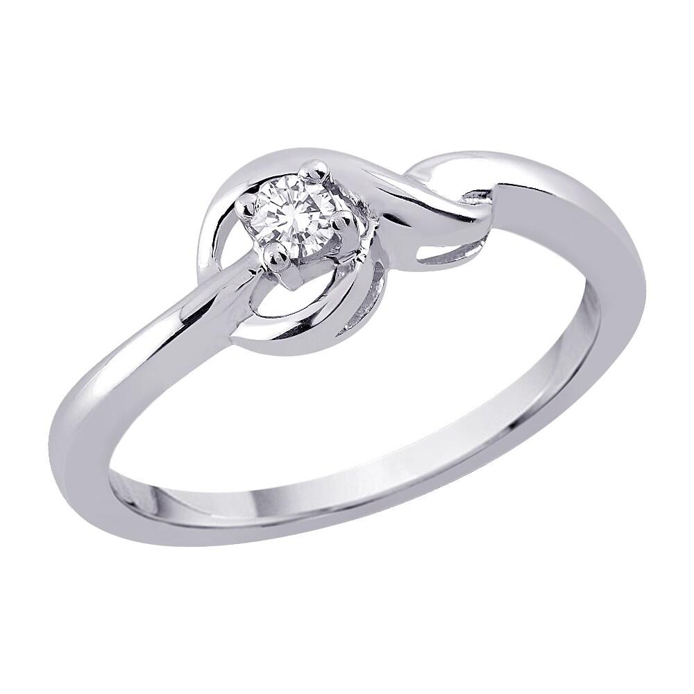 10k White Gold 1/10ct TDW Diamond Knot Ring (G-H, I2-I3)