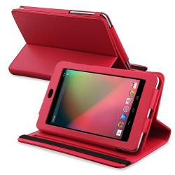 Red Leather Swivel Case for Google Nexus 7