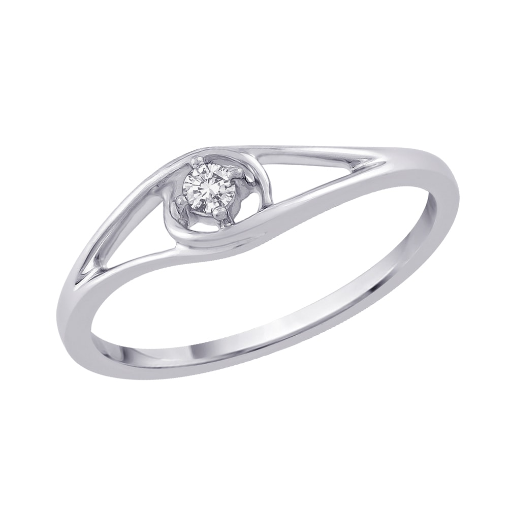 14k White Gold Diamond Accent Solitaire Ring (J-K, I2-I3)