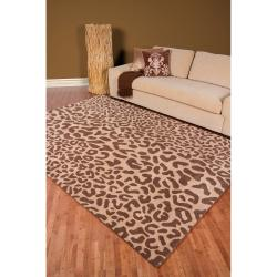 Hand-tufted Tan Leopard Strasbourg Animal Print Wool Rug (2' x 3')