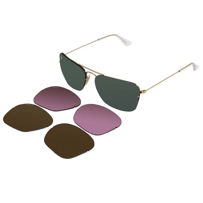 Ray-Ban Unisex 'RB3461 Flip Out Caravan' Interchangeable Aviator Sunglasses