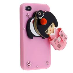 Pink Kimono Mirror Case/ LCD Protector/ Wrap for Apple iPhone 4/ 4S