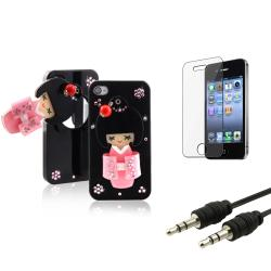 Black Kimono Mirror Case/ LCD Protector/ Cable for Apple iPhone 4/ 4S