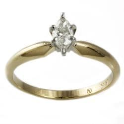Beverly Hills Charm  14k Gold 1/4ct Marquise Diamond Solitaire Engagement Ring
