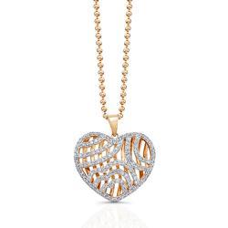 14k Rose-gold 1ct TDW White Diamond Heart Pendant (JK, I2-I3)