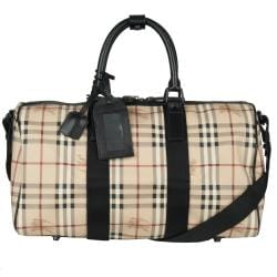 Burberry 'Crest' Plaid Duffle Bag
