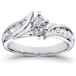  14k White Gold 7/8 ct TDW Marquise Diamond Engagement Ring (H-I, I1-I2)