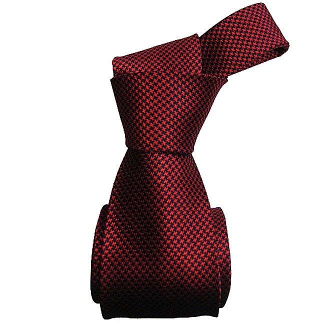 Dmitry Men's Italian Red Houndstooth Silk Tie