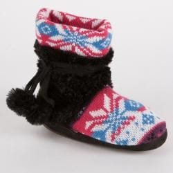Muk Luks 'Kit' Girls' Snowflake Fairisle Faux Fur-wrapped Bootie