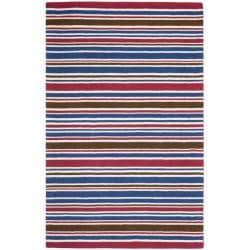 Handmade Children's Stripes New Zealand Wool Rug (4' x 6')
