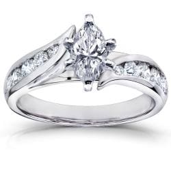 14k White Gold 1 1/4ct TDW Marquise Diamond Engagement Ring (H-I, I1-I2)