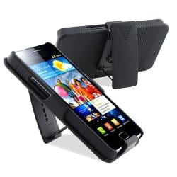 Black Holster with Stand/ LCD Protector for Samsung Galaxy S 2 i9100