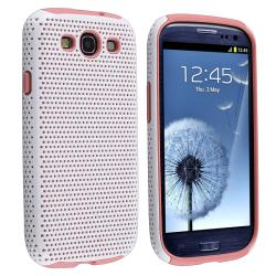 Light Pink/ White Hybrid Case for Samsung Galaxy S III/ S3