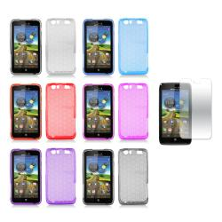 Debossed Hexagonal Pattern TPU Case with Screen Protector for the Motorola Atrix HD (3/Dinara) 