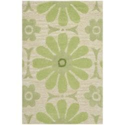 Handmade Children's Daisies Green New Zealand Wool Rug (2' x 3')
