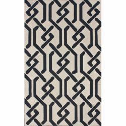 nuLOOM Handmade Marrakesh Trellis Charcoal Wool Rug (7'6 x 9'6)