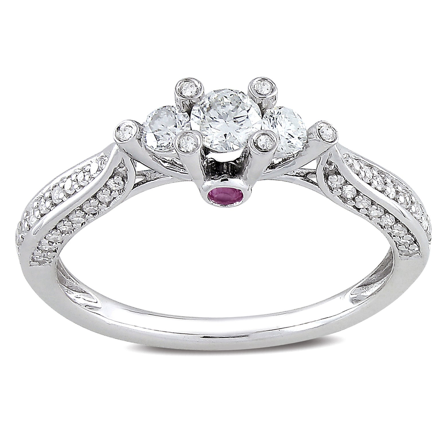 Miadora 14k White Gold 1/2ct TDW Diamond and Pink Sapphire Ring (H-I, I2-I3)