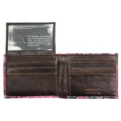 Men's Pink Python-embossed Leather Bi-fold Wallet