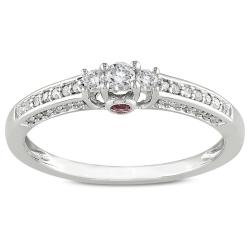 Miadora 14k White Gold 1/4ct TDW Diamond and Pink Sapphire Ring (H-I, I2-I3)