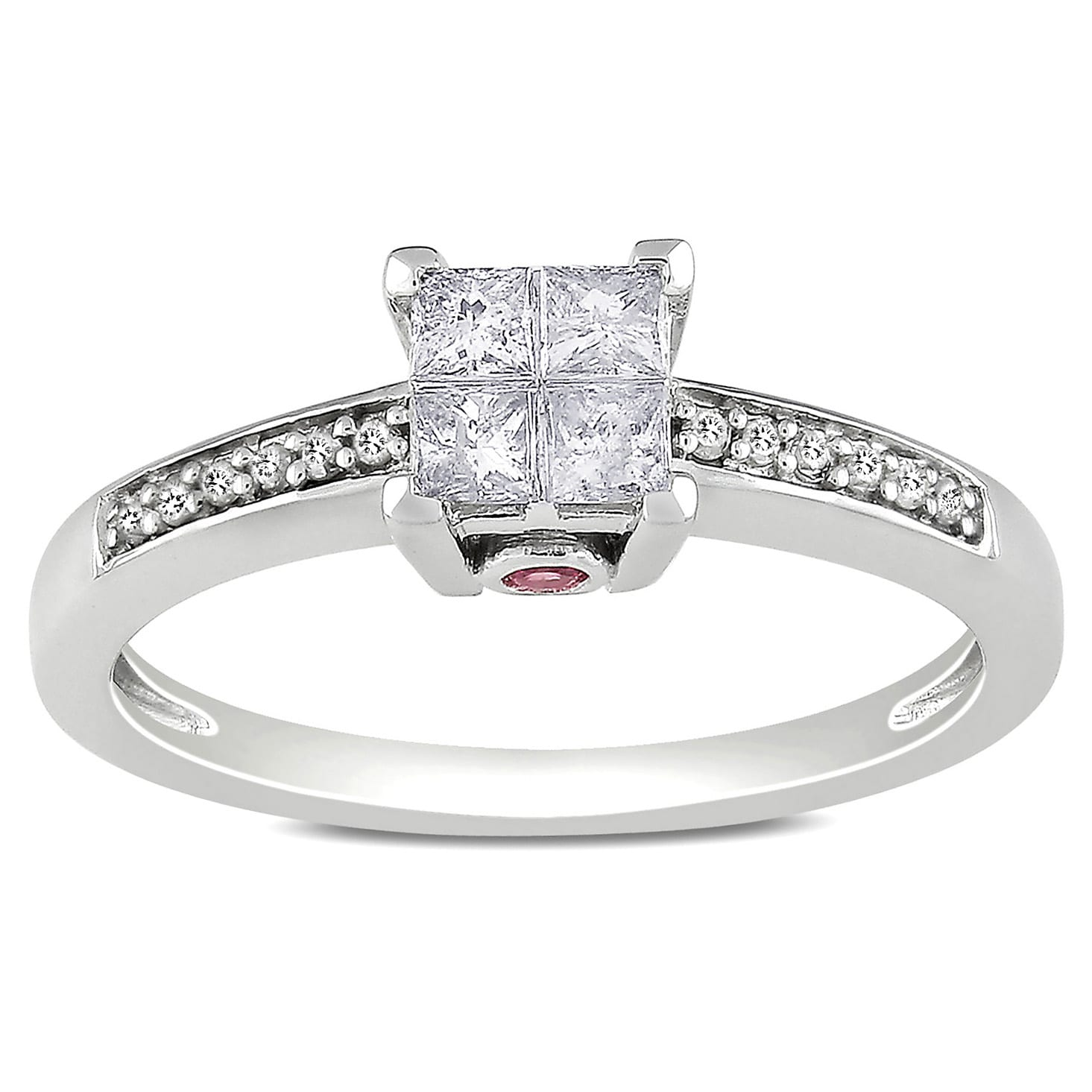 Miadora 14k White Gold 1/3ct TDW Diamond and Pink Sapphire Ring (H-I, I2-I3)