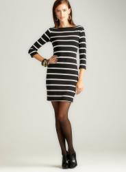 Soprano Elbow Slv Boat Neck Stripe Dress