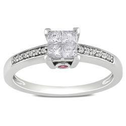 Miadora 14k White Gold 1/3ct TDW Diamond and Pink Sapphire Ring (H-I, I2-I3)