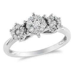 Miadora 14k White Gold 2/5ct TDW Diamond Flower Ring (G-H, I1-I2)