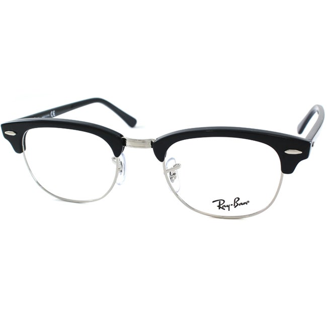 Ray-Ban Unisex RX 5154 Clubmaster 2000 Black And Silver Optical Eyeglasses Frames