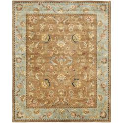 Handmade Eden Brown/ Blue Hand-spun Wool Rug (9' x 12')