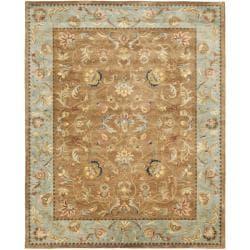 Handmade Eden Brown/ Blue Hand-spun Wool Rug (9' x 12')