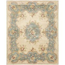 Safavieh Handmade Ivory/ Light Blue Hand-spun Wool Rug (9'6 x 13'6)