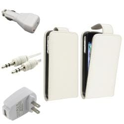 White Leather Case/ White Chargers/ Cable for Apple� iPhone 4/ 4S