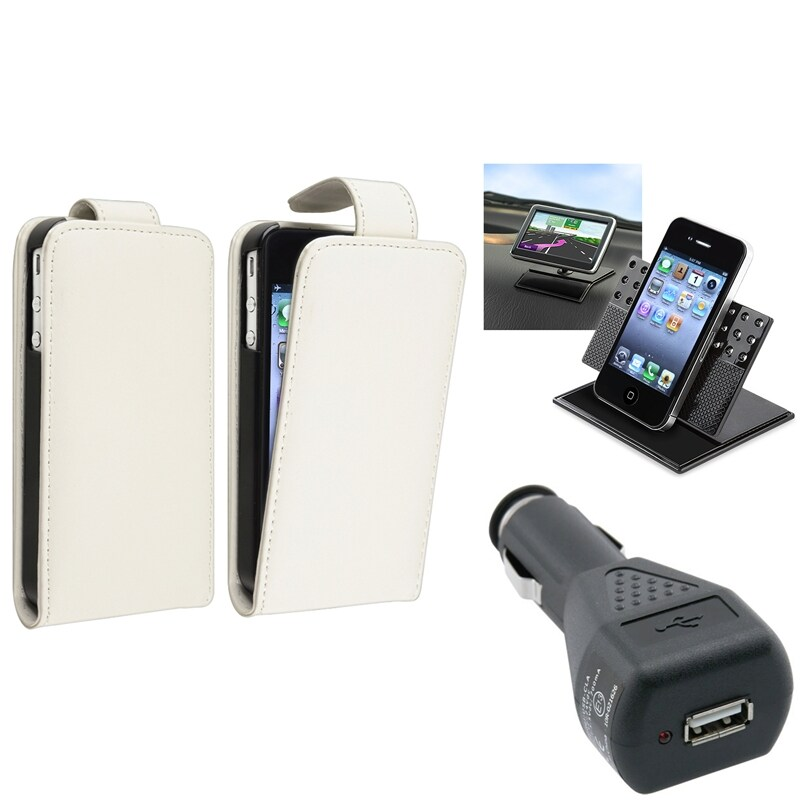 White Leather Case/ Black Car Charger/ Holder for Apple® iPhone 4/ 4S