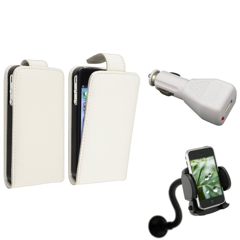 White Leather Case/ White Car Charger/ Mount for Apple® iPhone 4/ 4S