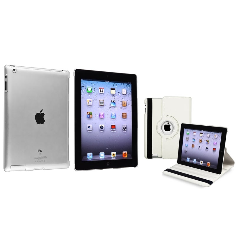 White 360 Swivel Leather Case/ Crystal Case for Apple® iPad 2/ 3